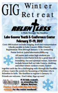 GIG Winter Retreat @ Lake Geneva Youth & Conference Center