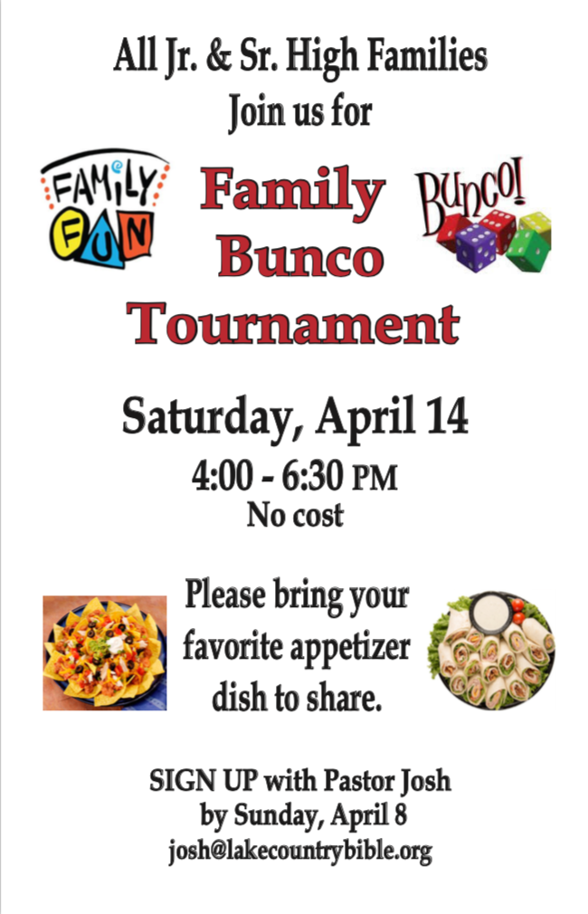 Youth Group Family Bunco Tournament